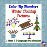 Color By Number Math and Language Arts Activities about Winter Fun