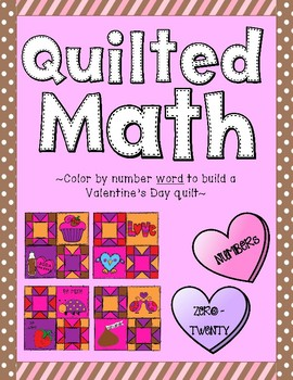 Color By Number Word - Valentine's Day Quilt (Numbers 0-20)