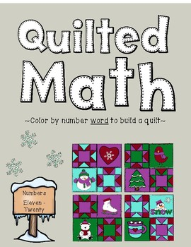 Color By Number Word - Winter Quilt (Numbers 11-20)