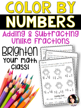 Color By Numbers Adding & Subtracting Fractions with Unlike Denominators  5.NF.1