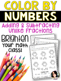 Color By Numbers Adding & Subtracting Fractions with Unlik