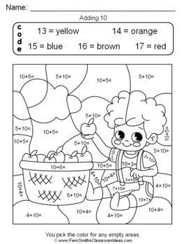 Color By Numbers Addition Of Ten More