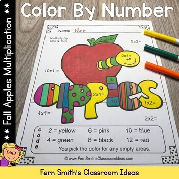 Color By Numbers Apples Multiplication