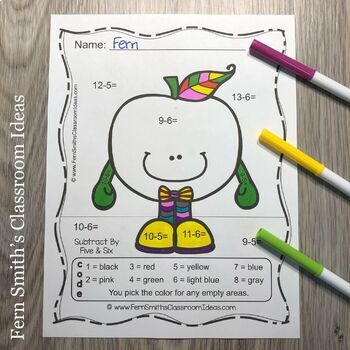 Color By Numbers Apples Addition Subtraction Multiplication Division Bundle