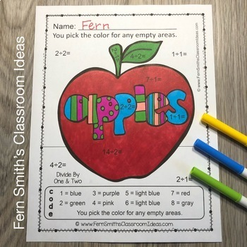 Color By Numbers Apples Multiplication and Division