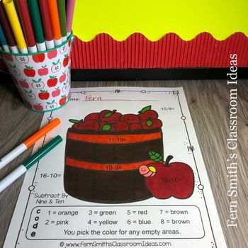Color By Numbers Apples Subtraction