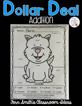 Color By Numbers Awesome Dog Mixed Addition Dollar Deal
