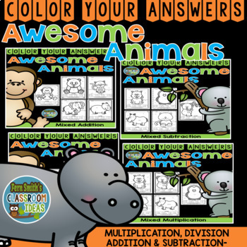 Color By Numbers Awesome Animals Mixed Math Problems Bundle