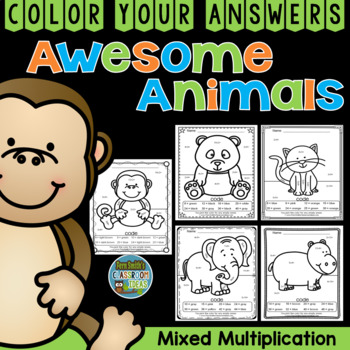 Color By Numbers Awesome Animals Mixed Multiplication
