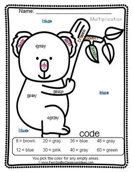 Color By Numbers Awesome Koala Bear Mixed Multiplication Dollar Deal