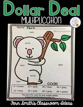 Color By Numbers Awesome Koala Bear Mixed Multiplication D
