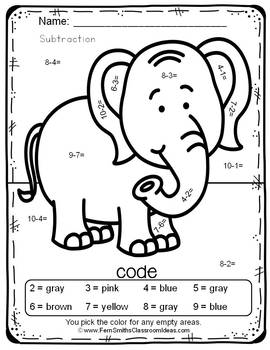 Color By Numbers Awesome Elephant Mixed Subtraction Dollar Deal