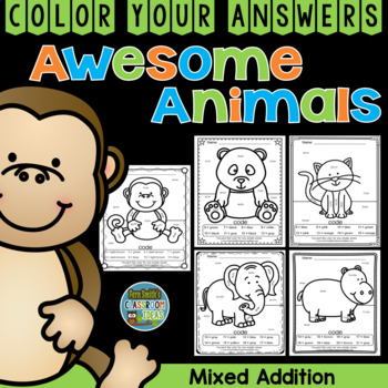 Color By Numbers Awesome Animals Mixed Addition