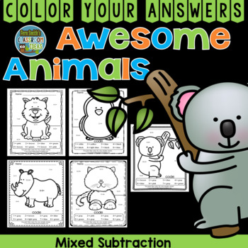 Color By Numbers Awesome Animals Mixed Subtraction