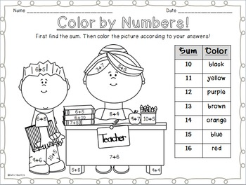 Color By Numbers: Back to School themed!