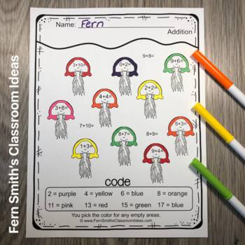 Color By Numbers Addition Subtraction Multiplication and Division Freebie