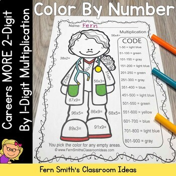 Color By Numbers Careers: MORE 2 Digit by 1 Digit Multiplication