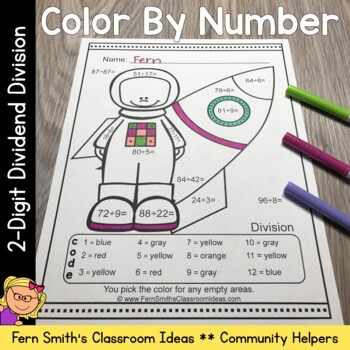 Color By Numbers Careers: 2 Digit Dividend Division