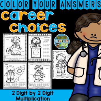Color By Numbers Careers: 2 Digit by 2 Digit Multiplication