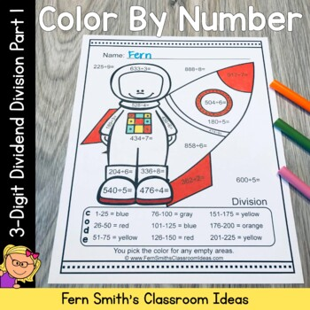Color By Number 3-Digit Dividend by 1-Digit Divisor Division Part 1