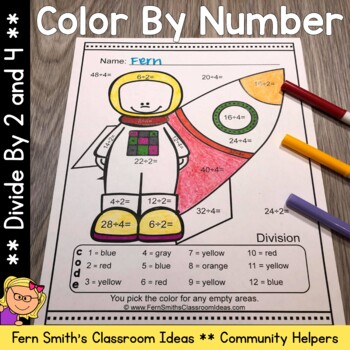 Color By Numbers Careers: Divide by 2 and 4