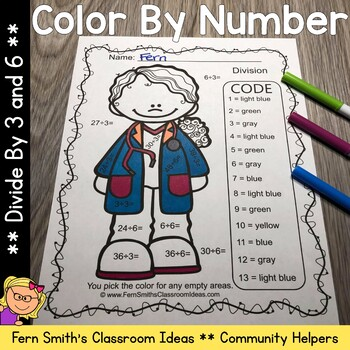 Color By Numbers Careers: Divide by 3 and 6