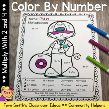 Color By Number Multiply With 2 and 4 Careers - Community Helpers