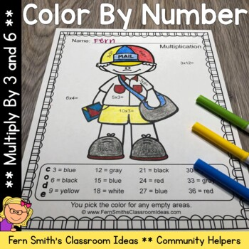 Color By Number Multiply by 3 and 6 Careers - Community Helpers