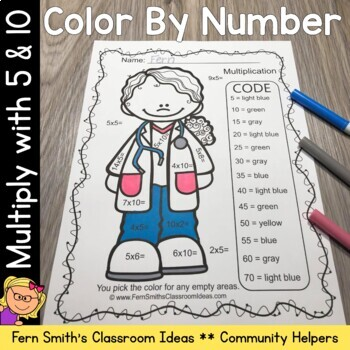 Color By Numbers Careers: Multiply with 5 and Multiply with 10
