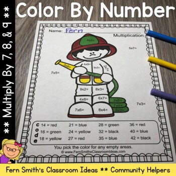 Color By Numbers Careers: Multiply by 7, 8, and 9