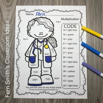 Color By Number Multiply by 7, 8, and 9 Careers - Community Helpers