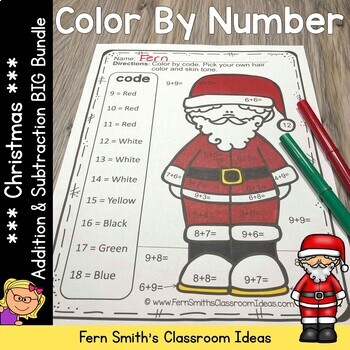 Color By Numbers Christmas Addition and Subtraction Bundle
