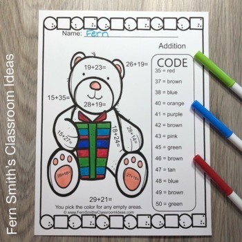 Color By Numbers Christmas Critters Two Digit by Two Digit Addition