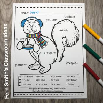 Color By Numbers Christmas Critters Three Addend Addition