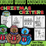 Color By Numbers Christmas Critters Two-Step Subtraction