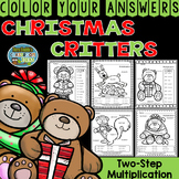 Color By Numbers Christmas Critters Two-Step Multiplication