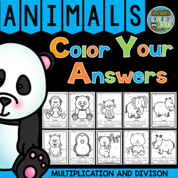 Color By Numbers Awesome Animals Mixed Multiplication and Mixed Division Bundle