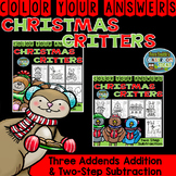 Color By Numbers Christmas Three Addends Addition and Two-Step Subtraction
