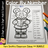 Color By Numbers Christmas 2-Digit by 2-Digit Addition and