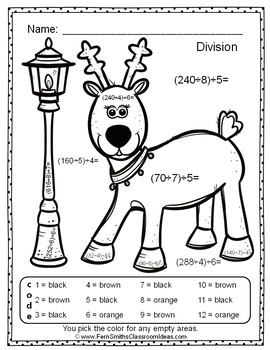 Color By Numbers Christmas Two-Step Division