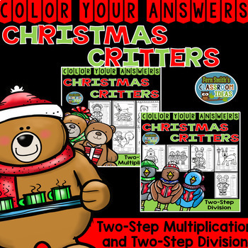 Color By Numbers Christmas Two-Step Multiplication and Two-Step Division Bundle