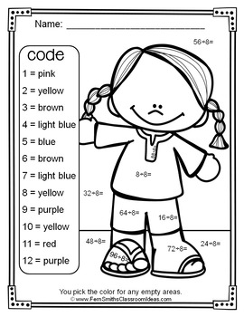 3rd Grade Go Math Chapter Seven 7.8 Color By Numbers Divide By Eight