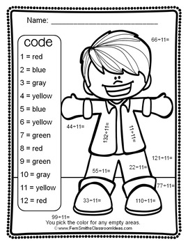 Color By Numbers Divide By Eleven Color By Code Printables