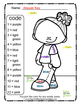 3rd Grade Go Math Chapter Seven 7.9 Color By Numbers Divide By Nine