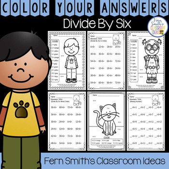 3rd Grade Go Math Chapter Seven 7.6 Color By Numbers Divide By Six