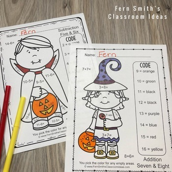 Color By Numbers Halloween Costumed Kids Addition and Subtraction Bundle