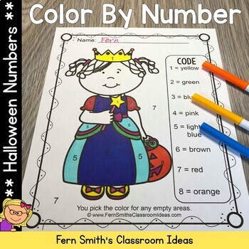 Color By Numbers Halloween Costumed Kids Know Your Numbers