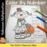 Color By Numbers Halloween Costumed Kids Multiplication
