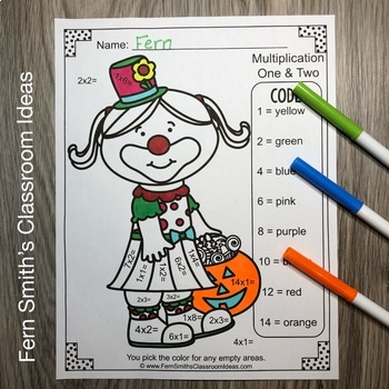 Color By Numbers Halloween Costumed Kids Multiplication and Division Bundle