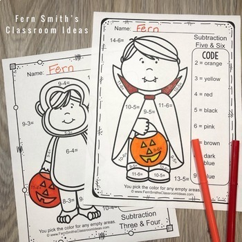 Color By Numbers Halloween Costumed Kids Subtraction
